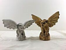 Lot of 2 Monster Winged Gargoyle Dog Ceramic Statues Gothic Fantasy Decor
