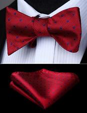 Burgundy Check & Plaid Self Bow Tie Pocket Square Butterfly Silk Set#BD609US