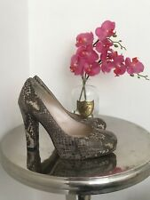 Russell And Bromley 4 37 Snake Skin Effect Brown Smart Work Heels Business