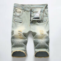 Men Denim Shorts Retro Shorts Distressed Ripped Jeans Straight Slim Fit Shorts