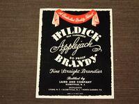 VINTAGE OLD LIQUOR BOTTLE LABEL HILDICK APPLEJACK BRANDY SCOBEYVILLE NJ