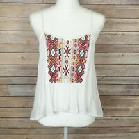 Urban Outfitters Ecote Womens Tank Top White With Embroidered Front Size Small