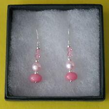 Earrings With Pink Morganite Pearls And Crystal 2.9 Gr.3 Cm. Long + Hooks In Box