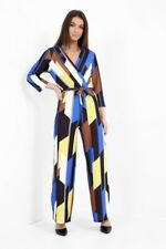 LADIES MULTI COLOURED V NECK LONG SLEEVE  ALL IN ONE WIDE LEG JUMPSUIT £19.99