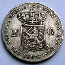 NETHERLANDS 2-1/2 GULDEN 1847 KM#69 Silver, WILLEM II I8.2