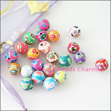 50Pcs Mixed Handmade Polymer Fimo Clay Round Spacer Beads Charms 8mm