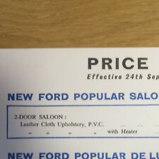 FORD POPULAR De Luxe Deluxe Saloon PRICE LIST incl Heater Whitewall Tyres 1959