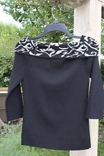 Women's Top Black Gray S 3/4 Sleeves Grace Knit Dressing 63%/37% Rayon/Nylon