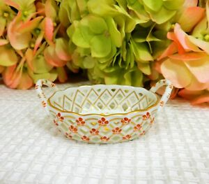 Vintage Herend Pierced Porcelain Basket Dish ~ Chinese Bouquet ~ Yellow