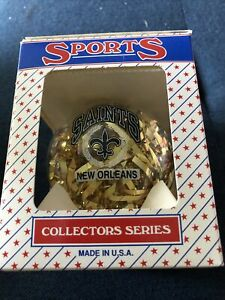 Vintage New Orleans Saints Glass Ornament NIB 1990s NFL Made In USA Topperscot
