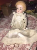 Kestner 154  Dep 4 German Doll Antique Bisque Head Doll, Leather Body NEEDS TLC