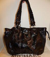 Michael Kors Black Crinkle Patent Leather Braided Shoulder Bag