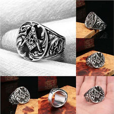 Men Titanium-Stainless Steel Mason Freemason Master Masonic Lodge Ring Jewelry F
