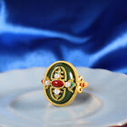 China Pure Silver S925 Gild Inlay Hetian Jasper Jade Court Style Adjustable Ring