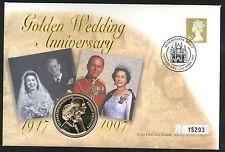 1997 Golden Wedding Coin  FDC - £5 Coin & Westminster Abbey Pmk