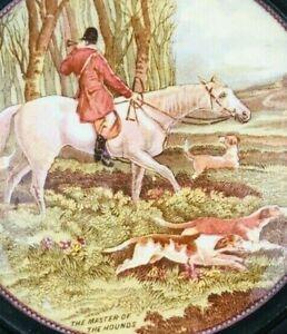 Antique H A Davis Landscape Art Framed The Master of The Hounds Porcelain
