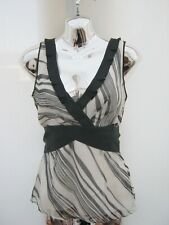 Coast Black & White Sash Belt Fitted Silk Top Smart Occasion Blouse  Size 8