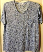 Womens Blue Marled V-neck Pocket Tee Size 1X Plus
