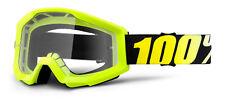 100% Lunettes de Moto-Cross STRATA YOUTH Néon Jaune - Transparent MX enfants