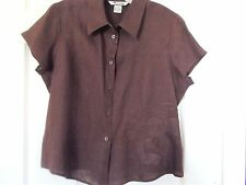 Nygard Collection Great Looking Linen Camp Shirt Sz14 Brown w/emb short slv