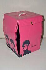 """Vintage Carousel Pink Twiggy Mod 1960s Vinyl Wig Case Holder 12"""" Carrier"""