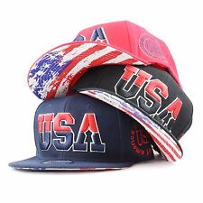 """The Hat Depot """"USA"""" 3D Embroidered Flat Bill Snapback Hat"""