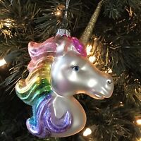 Rainbow Unicorn Glass Christmas Tree Ornament Pink Magical