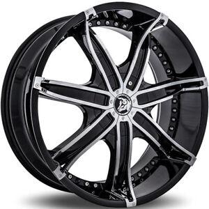 "4ea 22x8.5"" Diablo Wheels DNA Black with Chrome Insert Rims(S45)"