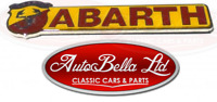 CLASSIC ABARTH LOGO EMBLEM LACQUERED METAL BADGE BRAND NEW WITH SCRIPT