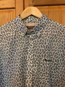 Ben Sherman XL Men's Cotton Shirt Smart Casual Patterned Floral Leaves White
