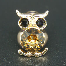 14k Rose Gold Plated Diamond Simulant Swarovski Crystals Owl Brooch Pin