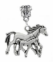 Horse Mother Baby Foal Colt Equestrian Animal Dangle Charm for European Bracelet