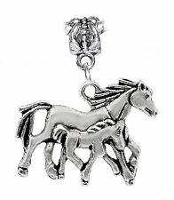 Mother Baby Horse Foal Colt Equestrian Animal Dangle Charm for European Bracelet