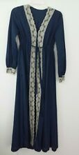 Vintage Housecoat Robe Womens No Size Blue with Ivory Lace Trim Zipper In Front