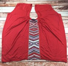 Baby Phat Women's Plus Size Red Sleeveless Shirt Low Neck Rhinestones Size 1X