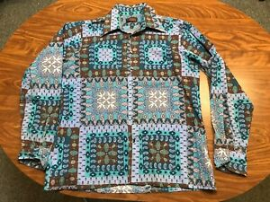 MENS USED VINTAGE LIGHTLY WORN ARROW LONG SLEEVE PAISLEY BUTTON UP SHIRT LARGE