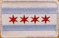 Chicago City Flag Patch Iron-On Patriotic  Emblem White Border