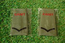 2 x New Genuine British Army L/CPL Cadet Rank Slide in Olive Green