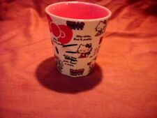 "Hello Kitty 3 1/3"" Plastic Drinking Glass Copyright 1976."