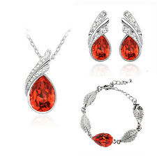 Red & Silver Crystal Bridal Jewellery Set Drop Earrings Bracelet & Necklace S651 lQh9gJ