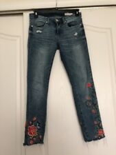 Blank NYC BLANKNYC Skinny Jeans Embroidered Flowers Raw Hem 27