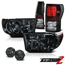 Toyota Tundra 07-13 Truck Smoke Diamond Headlight+Black Led Tail Light+Fog Lamp