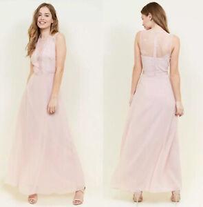 Blush Pink Chiffon And Lace Bridesmaid Dress - Size 12