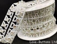 12mm Perla e Diamante Piatto indietro con Fiocco a forma di Abbellimenti 3m FULL Roll Bianco