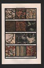 Chromo-Lithografie 1925 Dekorations-GESTEINE. Granit Serpentin Marmor Porphyr