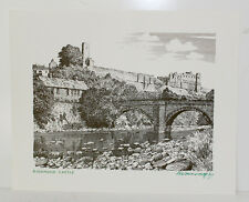Original Richmond Castle Print Signed by Alfred Wainwright Yorkshire Lakes