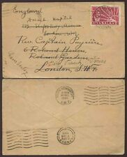 NYASALAND 1944 to FREE FRENCH FORCES FORWARDED CAMBERLEY GB CAPT.PAYRIERE + HOSP