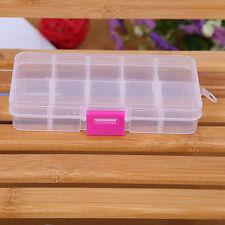 10 Grids Adjustable Jewelry Beads Pills Nail Art Tips Storage Box Organize  US