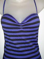 bebe P/S Bodycon Dress Royal Purple Black Striped Padded Corset Club Holiday