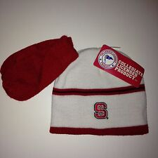 NC State Wolfpack Toddler Hat Mitten Set Stripe Red White Acrylic